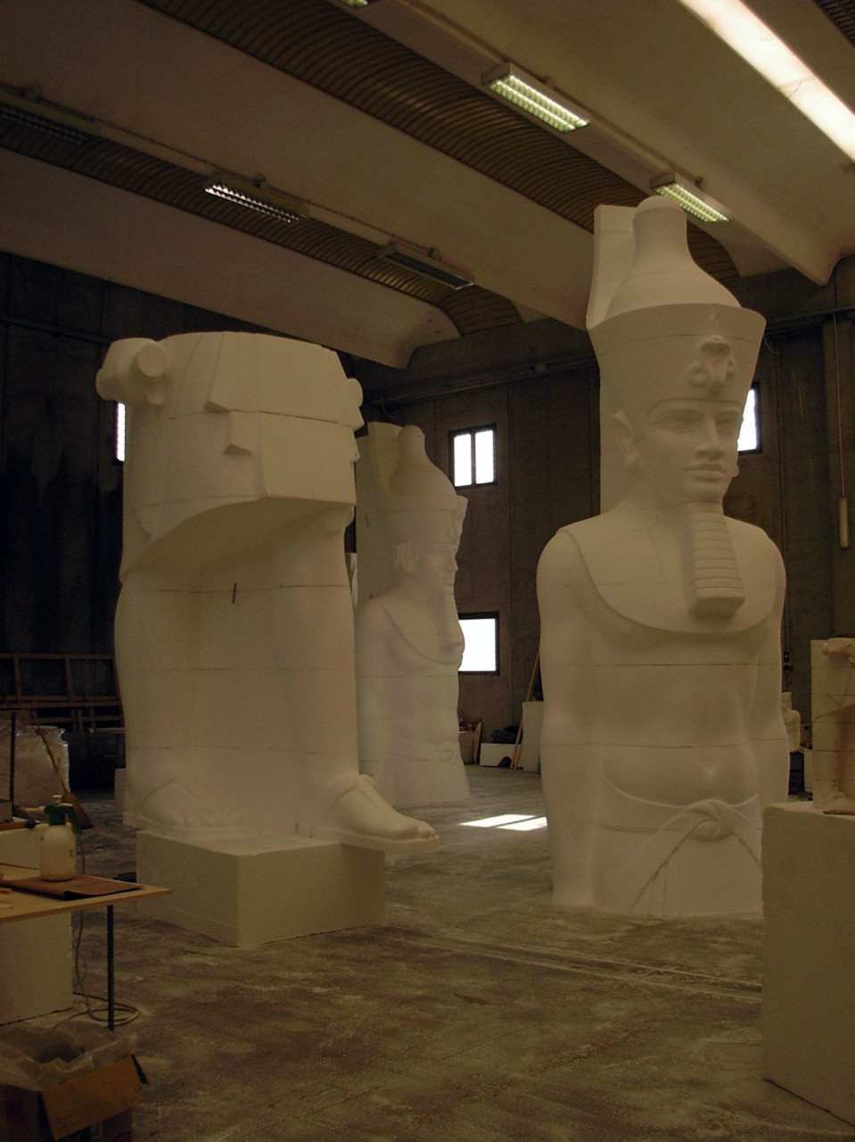 The main Statue inside the workshop during the sculpting job